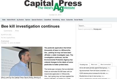 A screen shot of the Oregon bee kill article by Capitol Press